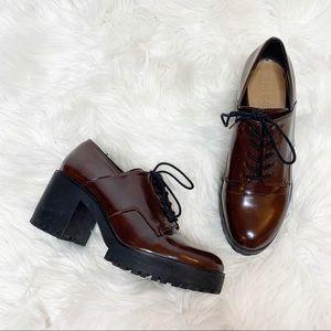Zara Trafaluc Burgundy Lace Up Heels Size 39